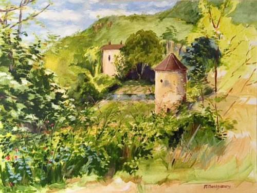'Le Pidgeonier, St Avit Sénieur' Oil on Canvas by Muriel.