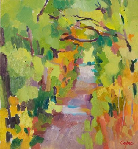 oil painting of path in woods autumn colours semi abstract