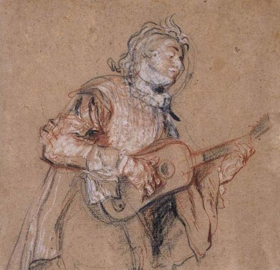Watteau, Jean Antoine (1684-1721) - Homem tocando guitarra, 1717-18