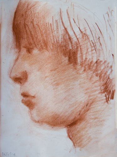 portrait drawing of a young boy in prrofile - sanguine