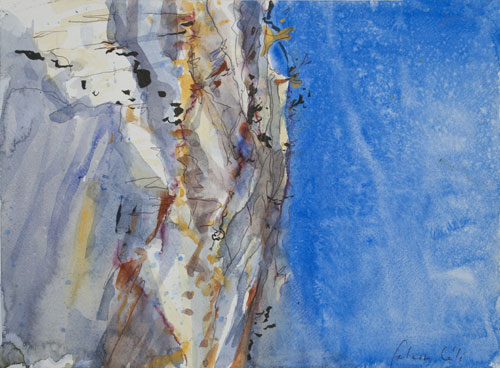 falaise- cele - lot - cliff & blue sky - watercolour