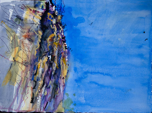 Watercolor of a cliff blue sky
