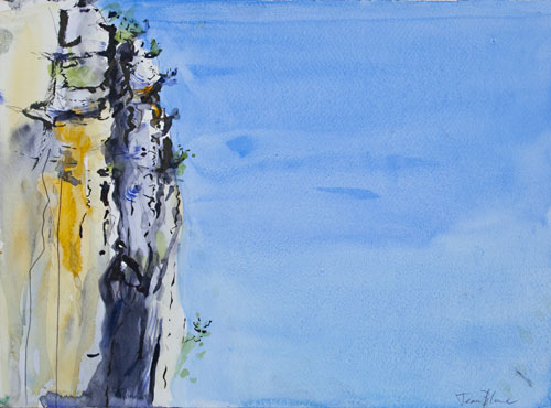 Watercolour of Cliff in the Célé Valley