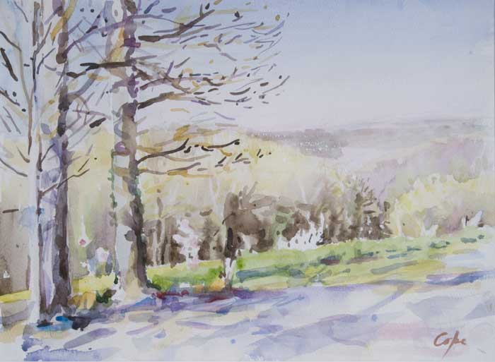 watercolour of trees - spring -Dordogne