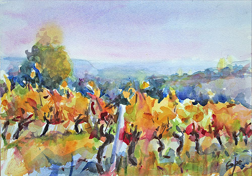 watercolour of vines