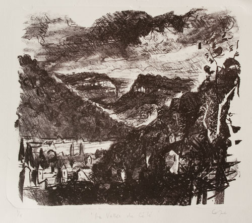 stone lithograpgy cliffs & valley