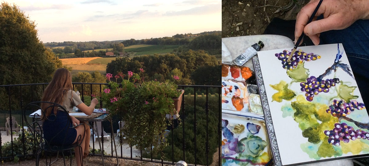 painting lesson vines grapes far view
