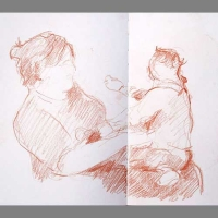 'Mother and Child' Sanguine. Double-Spread A5 sketchbook