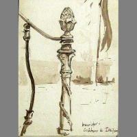 'Banister, Chateau de Issigeac' Pen & Ink. A5 sketchbook