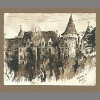 'Chateau de Bridoire, Dordogne' Pen & Ink.