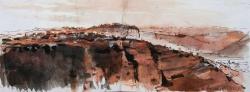 'Croix de Renard, Célé' Pen & ink, Pastel. 21 x 60cm