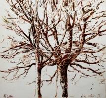 'Deux Chênes' Pen & Ink. 25 x23 cm