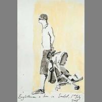 'Father & Son' Pen & Ink. A5 sketchbook