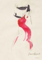 'Flamenco' Pen & watercolour. 25 x25 cm.