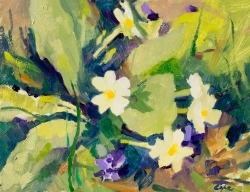 'Primroses & Violet 1' Oil on panel. 24 x 18 cm.