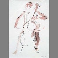 'Alison playing Bach on her Cello' - watercolour & pen