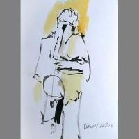 'Danny Le Duc & his saxohone' -pen & ink
