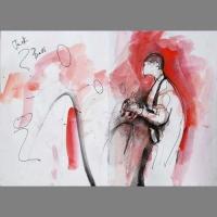 Jack playing bass' - watercolour