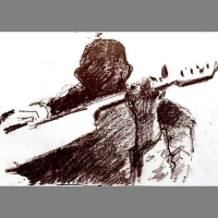 'Jack - guitar player' - conté sketch