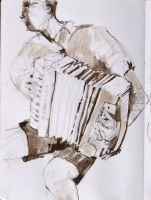 'Tommy & his Accordion' watercolour