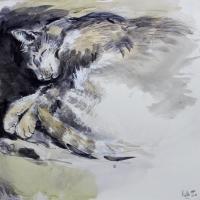 'Ké Ké' Pen,Ink & watercolour. 40 x40 cm