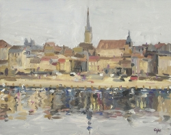 Bergerac , oil painting river, dordogne