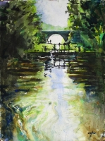 canal, tuillieres, dordogne, aquarelle, watercolour river
