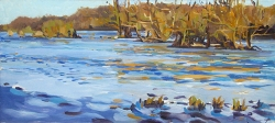 'ilots 1 ' , dordogne, oil painting river