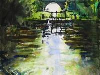 canal, tuillieres, dordogne, aquarelle, watercolour river