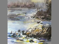 'La Dordogne, Beynac 2' waterclour 28 x 38 cm