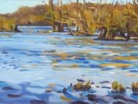 'ilots 1 ' , dordogne, oil painting river