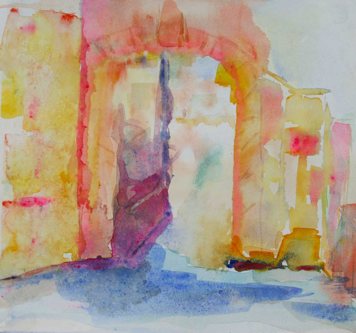 'Doorway at Béduer' by Brenda 'colour' Wolf. Watercolour.