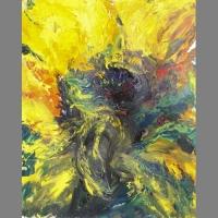 'Sunflower Expolsion' by Alice. Acrylic.