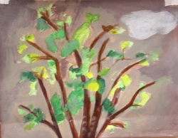 First ever tree painting. Acrylic by Deb
