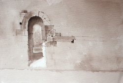 'Arch at St Avit' by Martha. Sepia watercolour