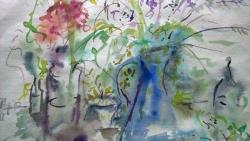 'Flowers & Vase' DETAlL by Rosemary. Watercolour