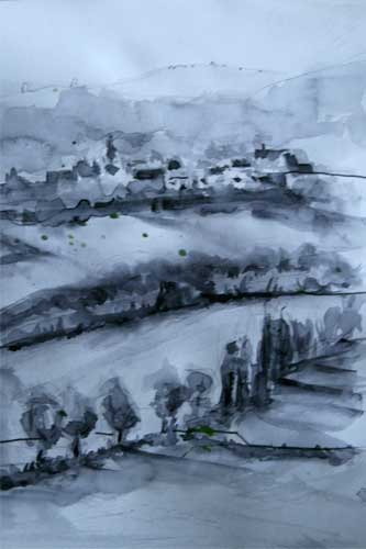 'View from window at Beduer' Watercolour in neutral tint by Christine