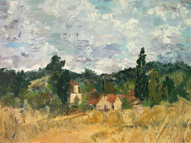 'Clouds, Hay Fields'. Plein air oils.