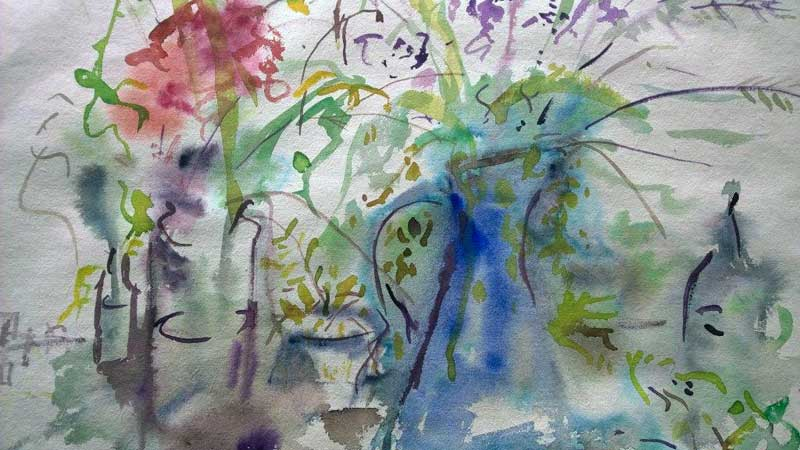 'Flowers & Vase' DETAlL by Rosemary. Watercolour
