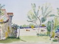 'Gate & Lizard at Beduer' by Chris. Watercolour.