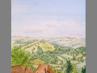 'Roof tops' by Bridgette. Watercolour.