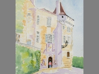 watercolor of beduern, south west france