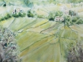 Dordogne Landscape. Watercolor by Gabrielle