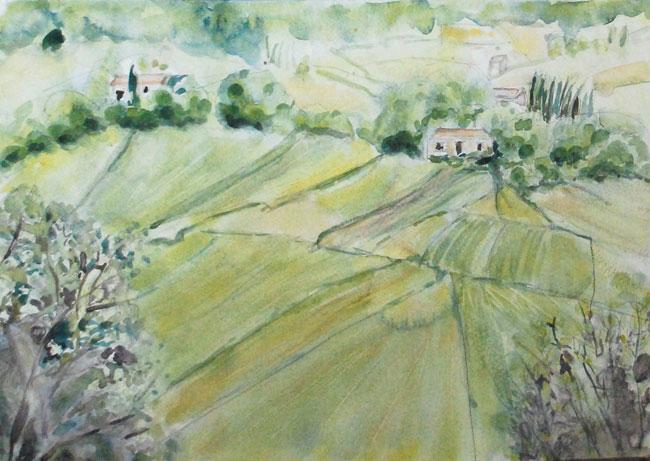 Dordogne Landscape. Watercolor by Gabrielle