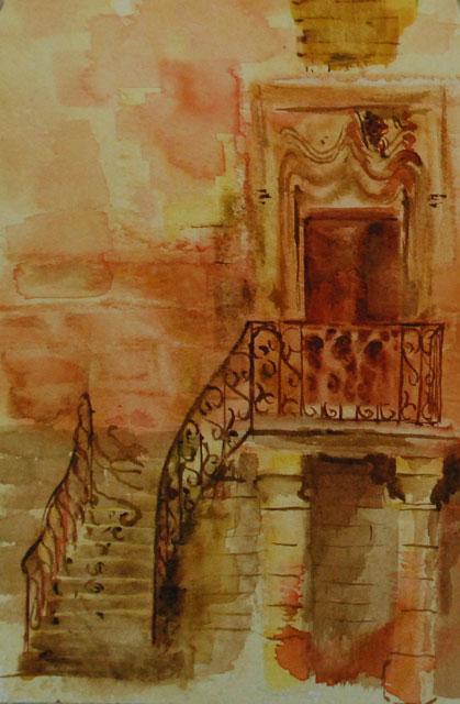 'Iron bars' wet-on-wet watercolor