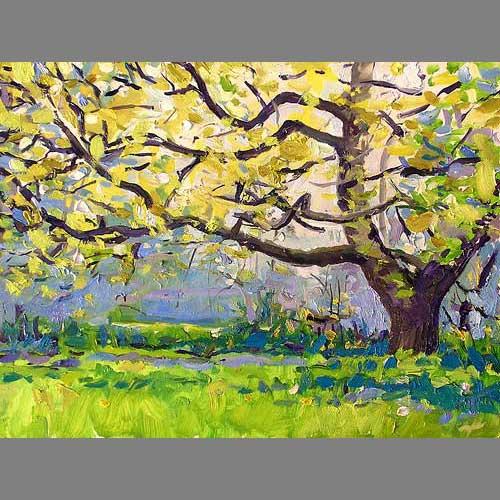 'Chene, Bronzage' (spring) Oil on Panel, 30 x 40 cm