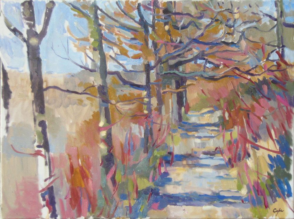 'Cornus, Chenes - Hiver' Oil on Canvas. 50 x 61 cm