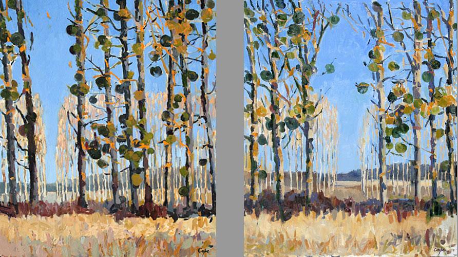 'Mistletoe' Oil. Diptych. Twice 65 x 50 cm