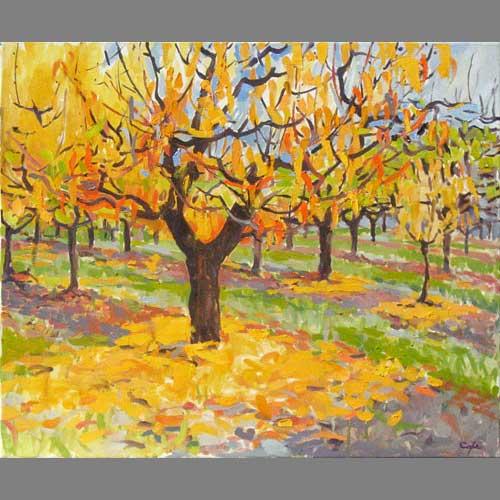 'Pechers de Vigne' Oil. 64 x 50 cm