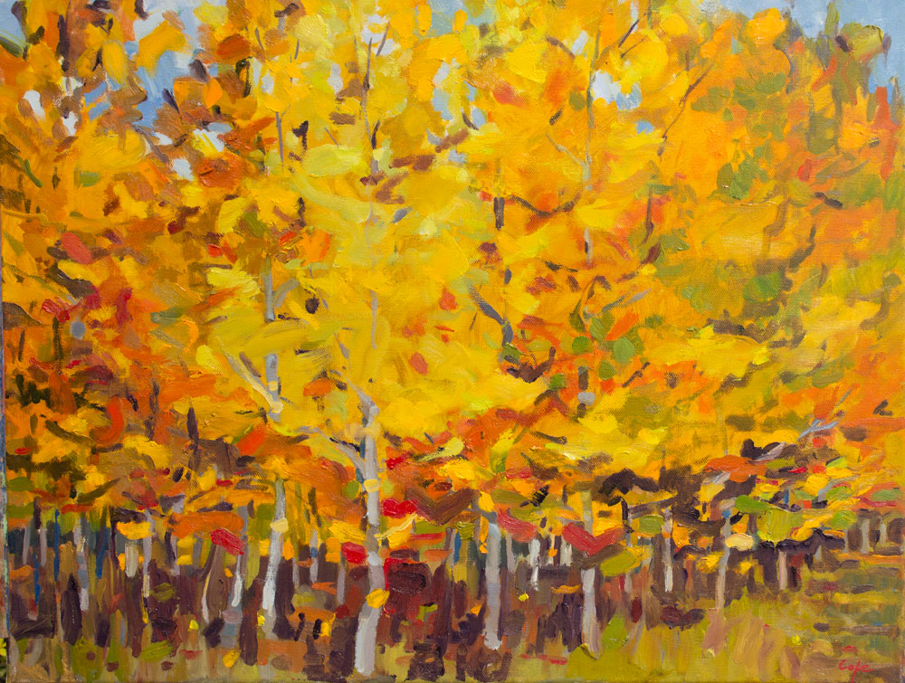 'Red Oaks' Oil. 61 x 50cm. Available